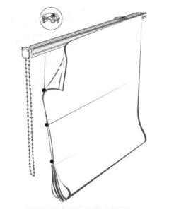 чертеж установки римских штор
